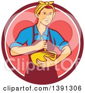 Clipart Of A Retro White Female Chef Or Baker Holding A Mixing Bowl In A Pink And White Circle Royalty Free Vector Illustration