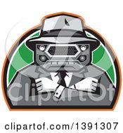 Retro Tough Mobster With A Car Grill Head And Folded Arms In A Half Circle