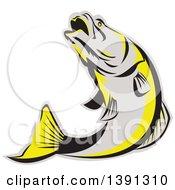 Clipart Of A Retro Gray Black And Yellow Barramundi Asian Sea Bass Fish Jumping Royalty Free Vector Illustration by patrimonio