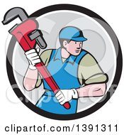 Clipart Of A Retro Cartoon White Male Plumber Running And Holding A Giant Monkey Wrench Emerging From A Black White And Gray Circle Royalty Free Vector Illustration