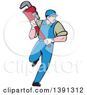 Retro Cartoon White Male Plumber Running And Holding A Giant Monkey Wrench
