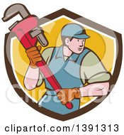 Retro Cartoon White Male Plumber Running And Holding A Giant Monkey Wrench Emerging From A Brown White And Yellow Shield