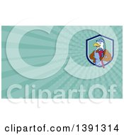 Clipart Of A Cartoon Bald Eagle Mechanic Man Holding A Wrench And Turquoise Rays Background Or Business Card Design Royalty Free Illustration
