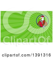 Clipart Of A Cartoon Bald Eagle Mechanic Man Holding A Wrench And Green Rays Background Or Business Card Design Royalty Free Illustration