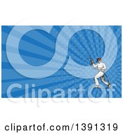Clipart Of A Sketched Male Painter Using A Spray Gun And Blue Rays Background Or Business Card Design Royalty Free Illustration