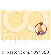 Clipart Of A Watercolor Styled Male Mechanics Hand Holding A Wrench And Pastel Orange Rays Background Or Business Card Design Royalty Free Illustration