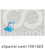 Clipart Of A Retro Blue And Red Female Farmer Carrying A Sack And A Pitchfork And Taupe Rays Background Or Business Card Design Royalty Free Illustration