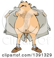 Clipart Of A Cartoon Hairy White Flasher Man Opening His Jacket And Showing His Junk Royalty Free Vector Illustration