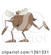 Clipart Of A Cartoon Moose With Long Legs Royalty Free Illustration
