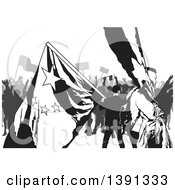 Grayscale Crowd Of Protesters With Flags