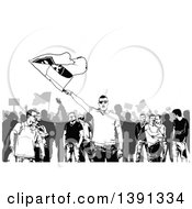 Clipart Of A Grayscale Crowd Of Protesters With Flags Royalty Free Vector Illustration