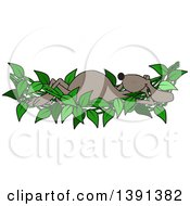 Cartoon Brown Dog Relaxing In A Leafy Vine Hammock