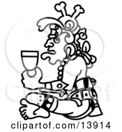 Aztec Man Drinking From A Cup Clipart Illustration