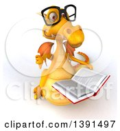 Clipart Of A 3d Yellow Dragon On A White Background Royalty Free Illustration