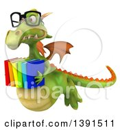Clipart Of A 3d Green Dragon On A White Background Royalty Free Illustration