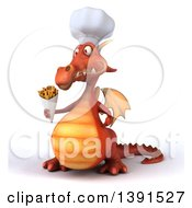 Clipart Of A 3d Red Dragon On A White Background Royalty Free Illustration