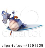 Clipart Of A 3d Purple Dragon On A White Background Royalty Free Illustration