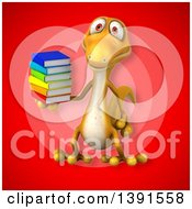 Clipart Of A 3d Yellow Gecko Lizard Holding Books On A Red Background Royalty Free Illustration