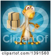 Clipart Of A 3d Yellow Gecko Lizard Holding Boxes On A Blue Background Royalty Free Illustration