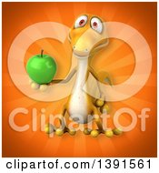 Clipart Of A 3d Yellow Gecko Lizard Holding A Green Apple On An Orange Background Royalty Free Illustration