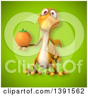 Clipart Of A 3d Yellow Gecko Lizard Holding An Orange On A Green Background Royalty Free Illustration
