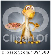 Clipart Of A 3d Yellow Gecko Lizard Holding A Pizza On A Gray Background Royalty Free Illustration