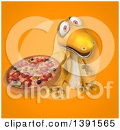 Clipart Of A 3d Yellow Gecko Lizard Holding A Pizza On An Orange Background Royalty Free Illustration