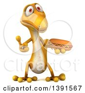 Clipart Of A 3d Yellow Gecko Lizard Holding A Hot Dog On A White Background Royalty Free Illustration
