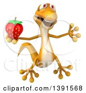 Clipart Of A 3d Yellow Gecko Lizard Holding A Strawberry On A White Background Royalty Free Illustration