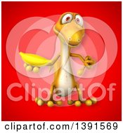 Clipart Of A 3d Yellow Gecko Lizard Holding A Banana On A Red Background Royalty Free Illustration