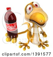Clipart Of A 3d Yellow Gecko Lizard Holding A Soda Bottle On A White Background Royalty Free Illustration