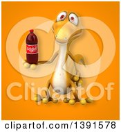 Clipart Of A 3d Yellow Gecko Lizard Holding A Soda Bottle On An Orange Background Royalty Free Illustration