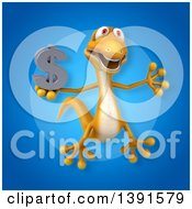 Clipart Of A 3d Yellow Gecko Lizard On A Blue Background Royalty Free Illustration