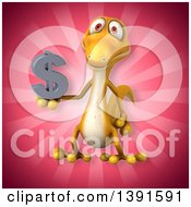 Clipart Of A 3d Yellow Gecko Lizard On A Pink Background Royalty Free Illustration