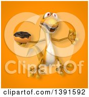 Clipart Of A 3d Yellow Gecko Lizard Holding A Donut On An Orange Background Royalty Free Illustration