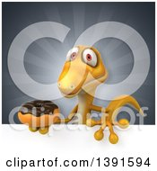 Clipart Of A 3d Yellow Gecko Lizard Holding A Donut On A Gray Background Royalty Free Illustration