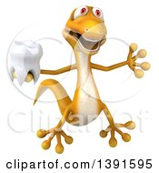 Clipart Of A 3d Yellow Gecko Lizard Holding A Tooth On A White Background Royalty Free Illustration