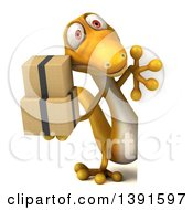Clipart Of A 3d Yellow Gecko Lizard Holding Boxes On A White Background Royalty Free Illustration