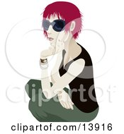 Cool Red Haired Woman Wearing Sunglasses And Crouching Clipart Illustration