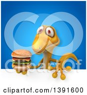 Clipart Of A 3d Yellow Gecko Lizard Holding A Double Burger On A Blue Background Royalty Free Illustration