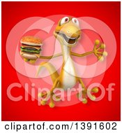 Clipart Of A 3d Yellow Gecko Lizard Holding A Double Burger On A Red Background Royalty Free Illustration