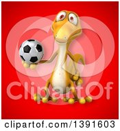 Clipart Of A 3d Yellow Gecko Lizard Holding A Soccer Ball On A Red Background Royalty Free Illustration