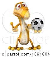 Clipart Of A 3d Yellow Gecko Lizard Holding A Soccer Ball On A White Background Royalty Free Illustration
