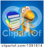 Clipart Of A 3d Yellow Gecko Lizard Holding Books On A Blue Background Royalty Free Illustration