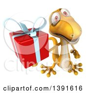 Clipart Of A 3d Yellow Gecko Lizard Holding A Gift On A White Background Royalty Free Illustration