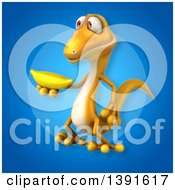 Clipart Of A 3d Yellow Gecko Lizard Holding A Banana On A Blue Background Royalty Free Illustration