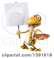 Clipart Of A 3d Yellow Gecko Lizard Holding A Pizza On A White Background Royalty Free Illustration