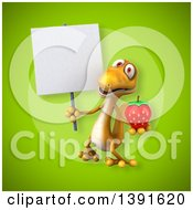 Clipart Of A 3d Yellow Gecko Lizard Holding A Strawberry On A Green Background Royalty Free Illustration