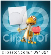 Clipart Of A 3d Yellow Gecko Lizard Holding A Love Heart On A Blue Background Royalty Free Illustration