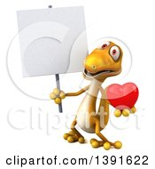 Clipart Of A 3d Yellow Gecko Lizard Holding A Love Heart On A White Background Royalty Free Illustration
